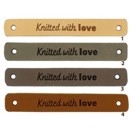 Leren label - Knitted with love - 2 stuks