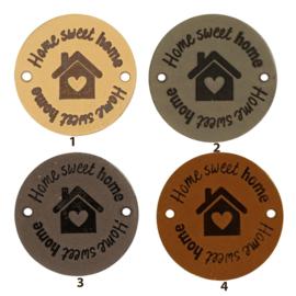 Leren label rond 3,5 cm - Home sweet home - 2 stuks