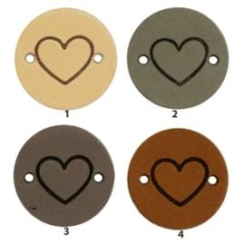 Leren label rond 2 cm - Heart - 2 stuks