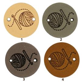Leren label rond 2 cm - Crochet - 2 stuks