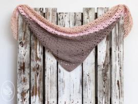 Haakpakket Horizon Shawl Taupe / Pink