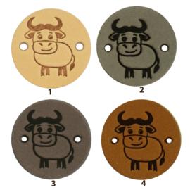 Leren label rond 2 cm - Cow - 2 stuks