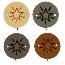 Leren label rond 2 cm - Star - 2 stuks