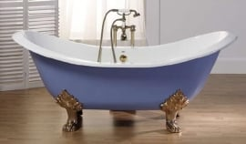 KSB0002 Antique, klassiek vrijstaand gietijzeren bad op pootjes / badkuip