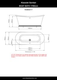 KSB0017,  Boat bad 170cm , Traditioneel  Vrijstaand Bad met plint, wit