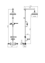 X-KSKA0019 Klassieke douche thermostaatkraan de Luxe, wand opbouw