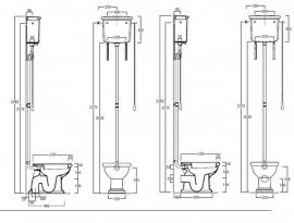 SLA0206 Landelijk toilet inclusief hooghangend reservoir, PK