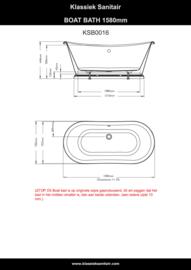 KSB0016 Klassiek design vrijstaand Boat bad 158 cm met plint, wit