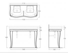 SLA120 Landelijke dubbele wastafel 120cm met onderstel wit