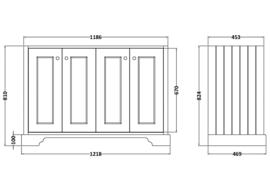 KSM0061C klassiek badmeubel met 4 deuren, wit, zwart bovenblad