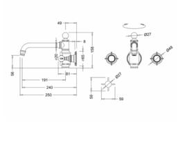 KS- AR16BL-NI Arcade inbouw  wastafelkraan driegats met zwarte hendels