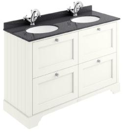KSM0069C Klassiek badkamermeubel 120cm wit met vier laden en granieten bovenblad