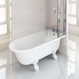 Klassiek hoekbad Hampton voor douchen op pootjes.  Rechtse uitvoering