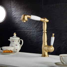 KSOX6-388 keukenkraan met afneembare klassieke handsproeier geborsteld brons