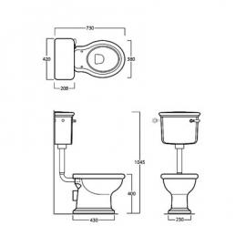 SLA0228b Lanelijke toilet inclusief laaghangend reservoir, PK