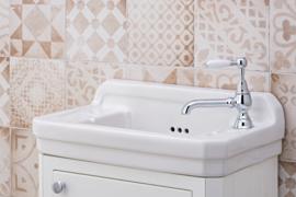 HOT0006 Gamma Klassieke fonteinkraan, chroom,  met lange uitloop 14cm en witte hendel