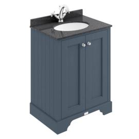KSM0070N klassiek badmeubel 60cm met 2 deuren en granieten bovenblad, blauw