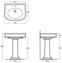 SLA1003 Landelijke keramische wastafel 70cm met zuil