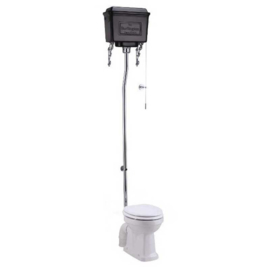 BURT60-02 Burlington toilet met Nederlandse AO aansluiting met mat zwart aluminium reservoir en verchroomde valpijp