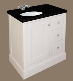 klassiek badkamermeubel 90cm, wit met basalt bovenblad en spiegel