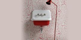 KSW0060R klassieke uitstort gootsteen wastafel 60 cm rood