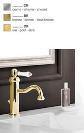 KSKA01801PG  Wastafelmengkraan met witte hendel, glanzend goud