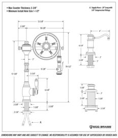 "Klassieke keukenkraan KSKE0043 MBL Mat zwart ""The Wheel""  landelijke stijl"