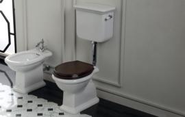 SLA004 noten houten kleur toiletzitting, scharnieren chroom