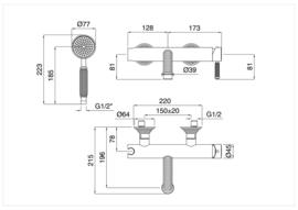 KSOL0031 Klassieke badkraan wandmontage, chroom