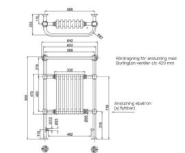 KSR0005W klassieke handdoekverwarming met wit blok