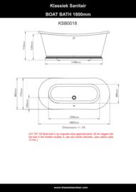 KSB0018, Boat bad 180cm,  Klassiek Vrijstaand Bad met plint,  wit