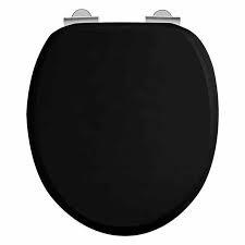 klassieke toilet zitting zwart tbv toilet KSTH001 met soft close scharnieren chroom