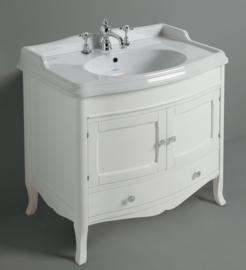 KSM0009, Landelijk badkamermeubel 90cm , onderkast met lade incl. wastafel, wit