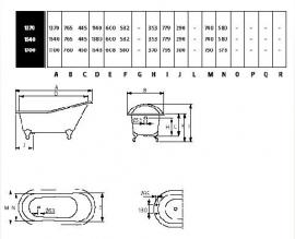 KSB0003 klassiek vrijstaand gietijzeren bad op pootjes  / badkuip, model slipper