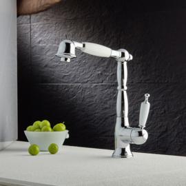 KSOX6 -388  Klassieke keukenmengkraan met uittrekbare sproeikop / handsproeier, chroom