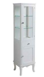 KSM0005 Klassieke hoge badkamerkast / vitrinekast met lade, wit