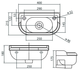 KSF0018 klassiek retro fontein 40x22cm, klassieke handenwasser
