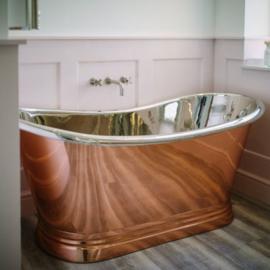 KSB0036 koperen boat bad met vernikkelde binnenzijde 170 x 72cm