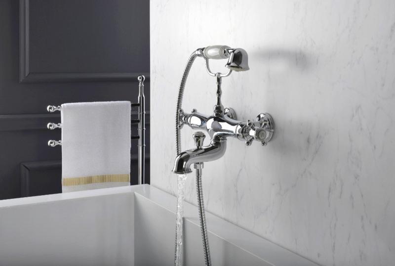 X-KSKA0031 Klassieke Thermostatische badkraan, wandmontage, chroom