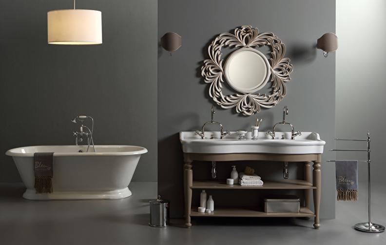 landelijke dubbele wastafel met onderkast hout, klassieke badkamer