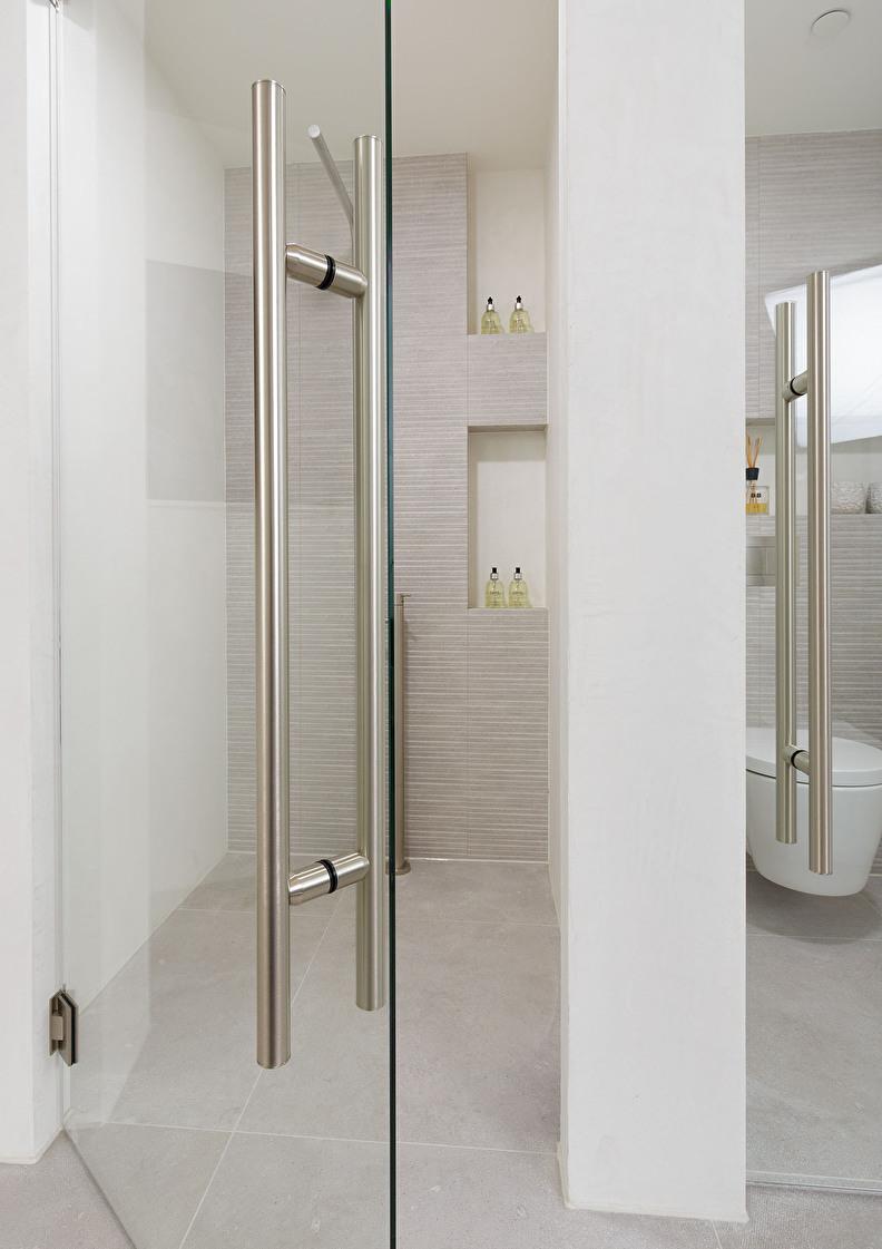 glazen deur en douchecabine op maat met grote grepen