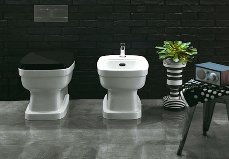 landelijke toiletpot, klassieke bidet, retro kranen