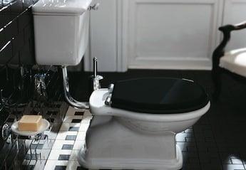simas klassieke toilet AO, laaghangend reservoir spoelmechanisme, Old England wastafel, wastafelmeubels