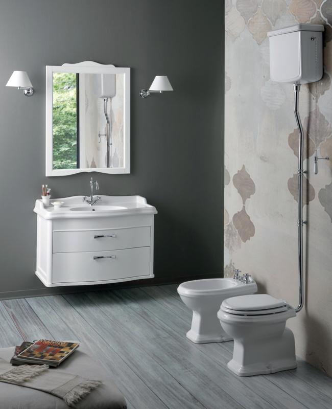 klassieke meubels, simas klassieke wastafel met witte houten badkamermeubel, simas hooghangend toilet