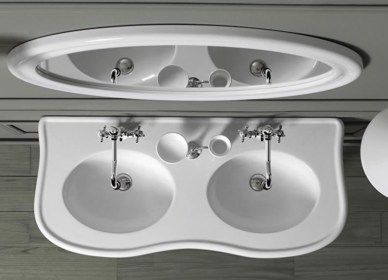 landelijke dubbele wastafel met klassieke wastafelkranen