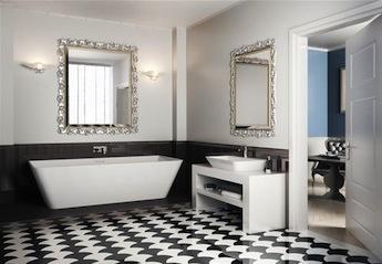 landelijke badkamers meubels, vrijstaand bad en inbouwkraan