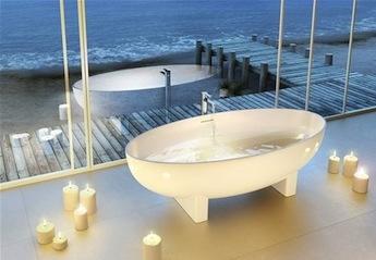 landelijke badkamers, design vrijstaand bad