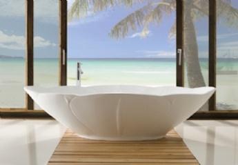 design vrijstaand bad, landelijke badkamer