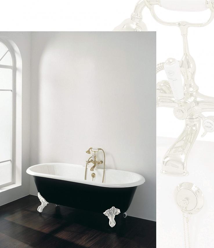 klassieke badmengkraan goud, vrijstaand bad op pootjes