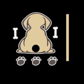 Sticker hondje achterruit ruitenwisser goud
